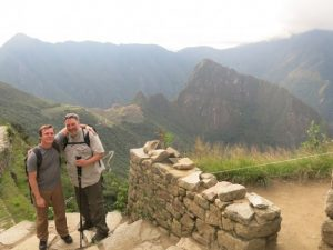 Ken Brothers (right) with his son at Machu Picchu in Peru.