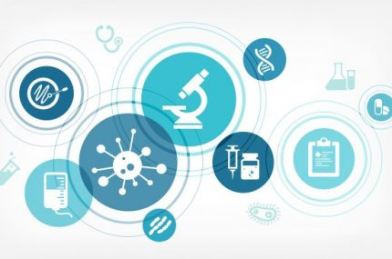 Medical research vector illustration. Concept with icons related to medicine and science, laboratory analysis, disease treatment, diagnosis, clinical trial or scientific therapeutic study.